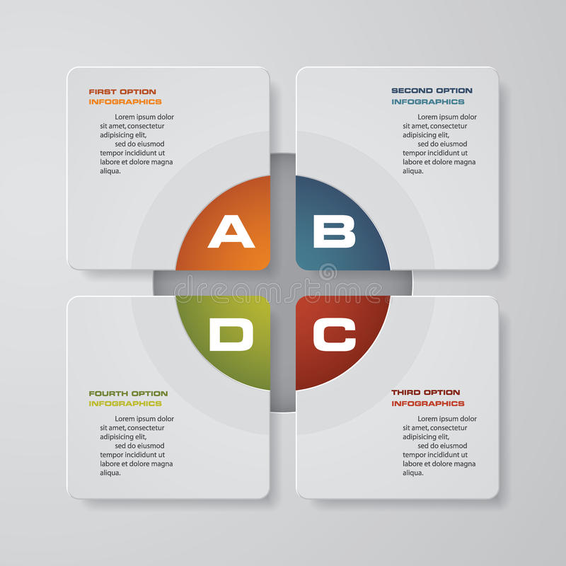 plantilla de la presentación del infographics de 4 pasos 4 pasos con el cuadrado y el espacio para su texto o datos de la muestra stock de ilustración