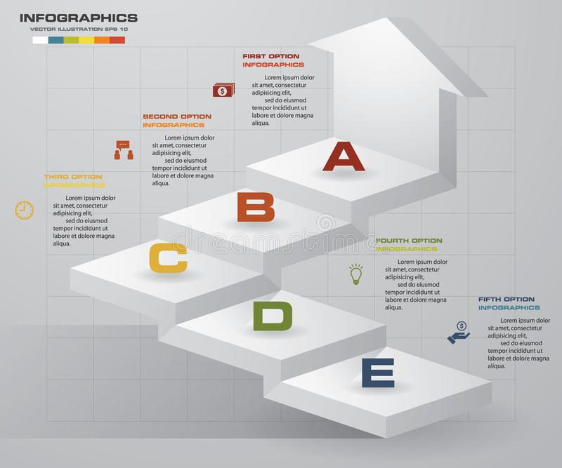 Plantilla de la presentación del negocio de los pasos del extracto 5 Infographics de la escalera de 5 pasos con la flecha libre illustration