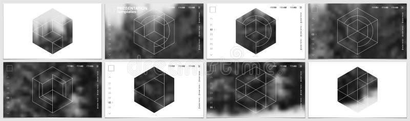 Plantilla de la presentación en formato de HD, diseño de la cubierta con formas geométricas y máscaras en el estilo minimalistic  stock de ilustración