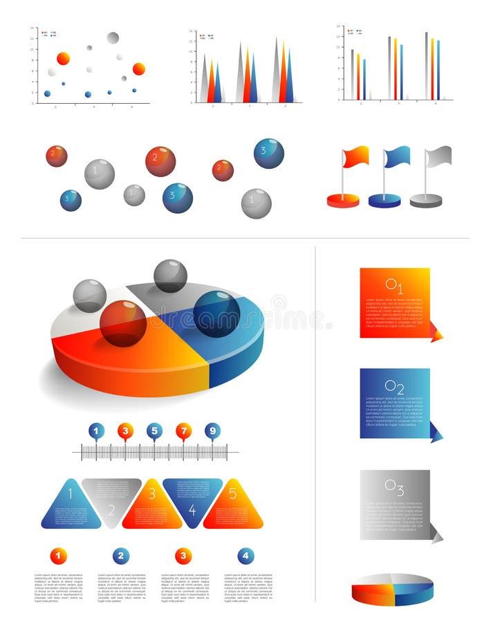 Plantilla de la presentación para el infographics con el diagrama del gráfico de sectores stock de ilustración