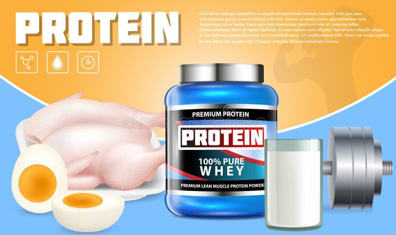 Plantilla de la publicidad del vector de los productos de la proteína libre illustration