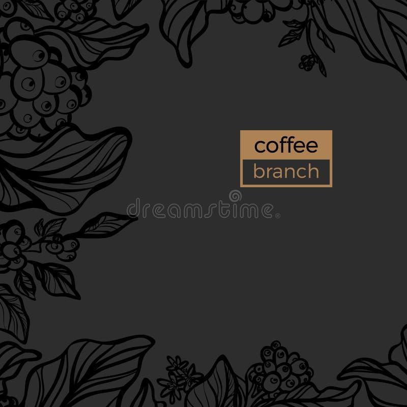 Plantilla de la rama negra del cafeto con las hojas y los granos de café naturales libre illustration