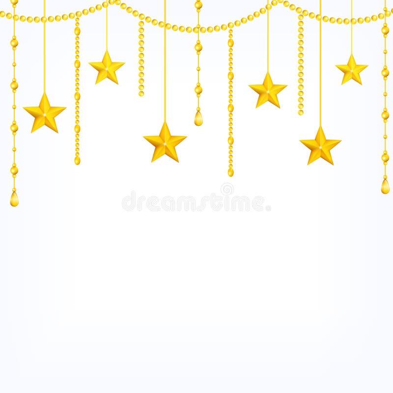 Plantilla de la tarjeta con el colgante de las estrellas del oro amarillo, gotas brillantes aisladas en el fondo blanco stock de ilustración