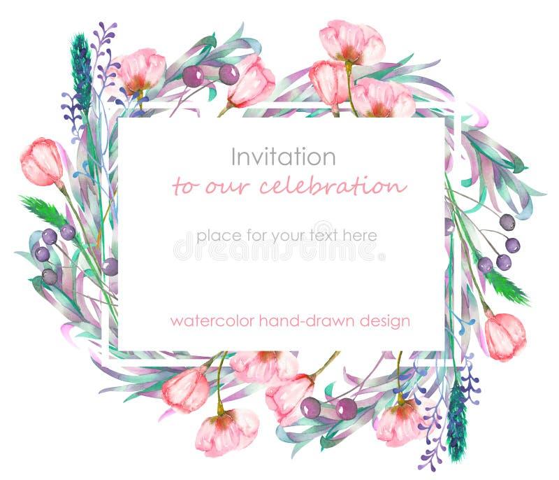 Plantilla de la tarjeta con el diseño floral; bayas, flores de la primavera y hojas a mano en una acuarela; decoración floral par ilustración del vector