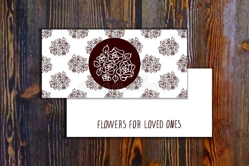 Plantilla de la tarjeta con el modelo inconsútil y floral ilustración del vector