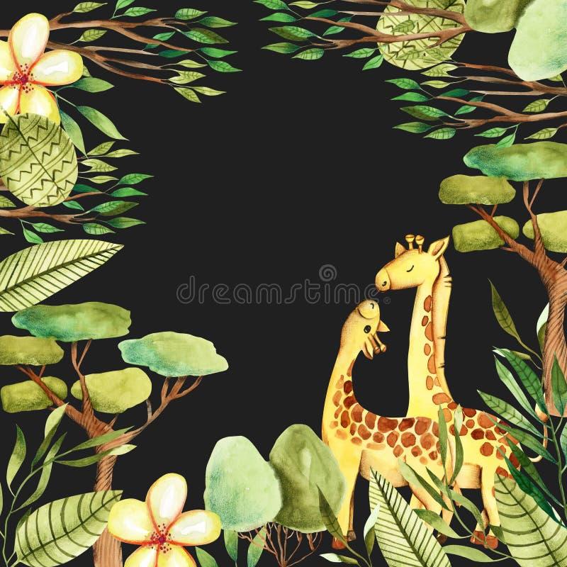 Plantilla de la tarjeta con las jirafas lindas de la acuarela, las flores y los elementos florales libre illustration