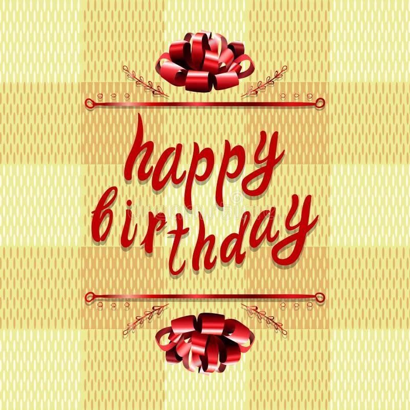 Plantilla de la tarjeta de felicitación del VECTOR del ` del feliz cumpleaños del `: arco y letras en textura de la materia texti libre illustration