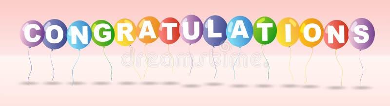 Plantilla de la tarjeta de la enhorabuena con los globos coloridos stock de ilustración