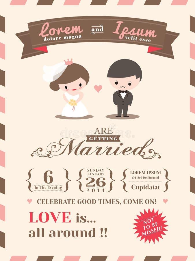 Plantilla de la tarjeta de la invitación de la boda ilustración del vector