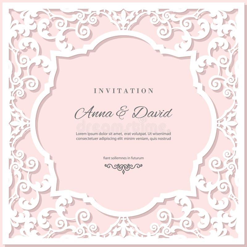 Plantilla de la tarjeta de la invitación de la boda con el marco de corte del laser Colores del rosa en colores pastel y del blan ilustración del vector