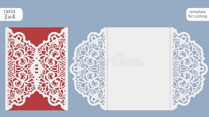 Plantilla de la tarjeta de la invitación de la boda del corte del laser Corte la tarjeta de papel con el modelo del cordón Planti ilustración del vector