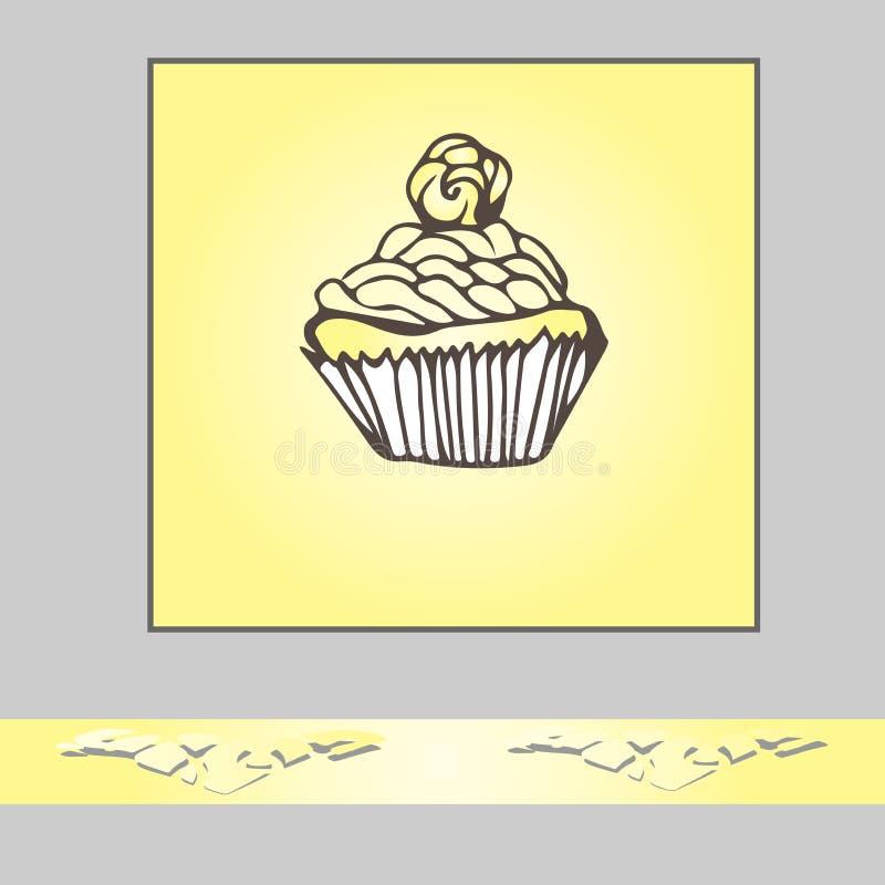 Plantilla de la tarjeta de la invitación o de felicitación con el cupc dibujado mano del garabato ilustración del vector