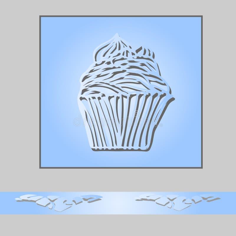 Plantilla de la tarjeta de la invitación o de felicitación con el cupc dibujado mano del garabato stock de ilustración