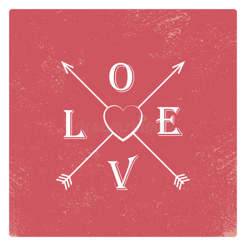 Plantilla de la tarjeta de la tarjeta del día de San Valentín del vintage con rojo gastado stock de ilustración