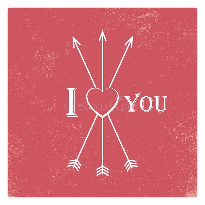 Plantilla de la tarjeta de la tarjeta del día de San Valentín del vintage con rojo gastado ilustración del vector