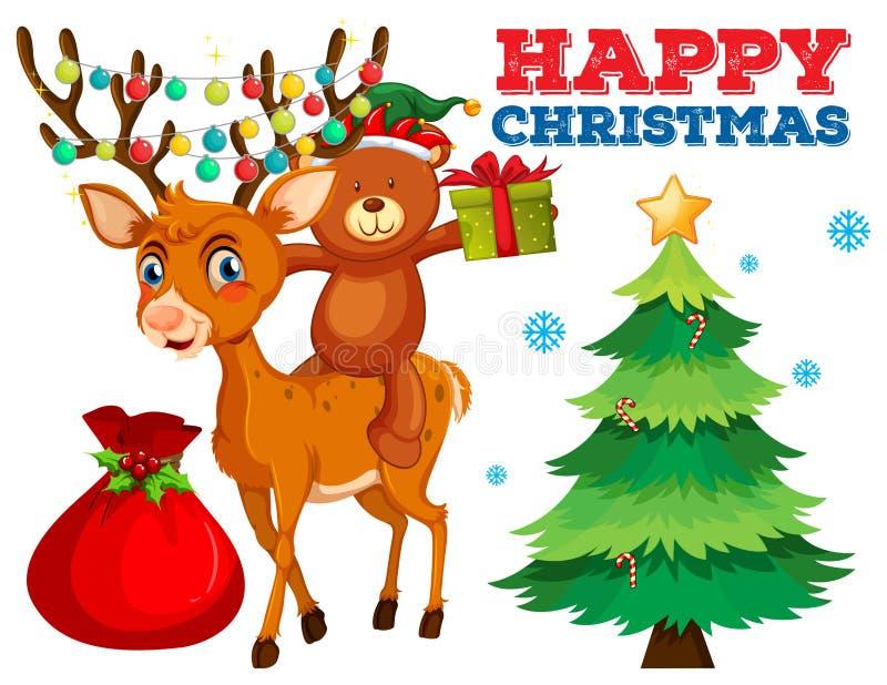 Plantilla de la tarjeta de Navidad con el oso y el reno ilustración del vector