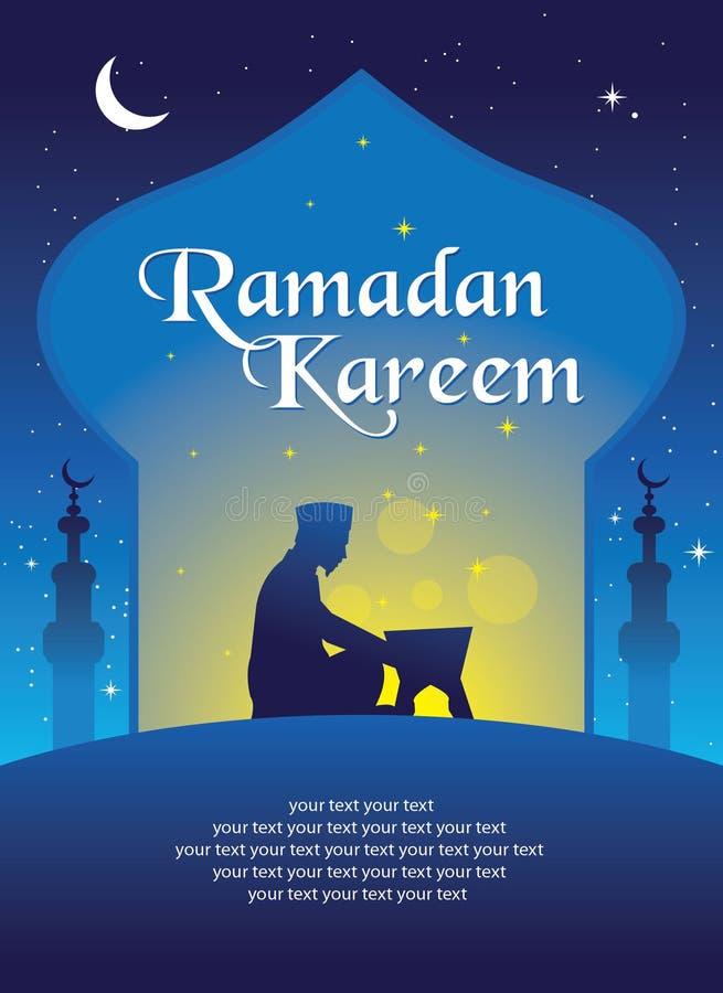 Plantilla de la tarjeta de Ramadan Kareem Greeting stock de ilustración