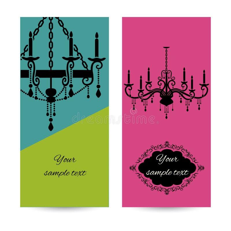 Plantilla de la tarjeta de visita con la lámpara, prospecto ilustración del vector