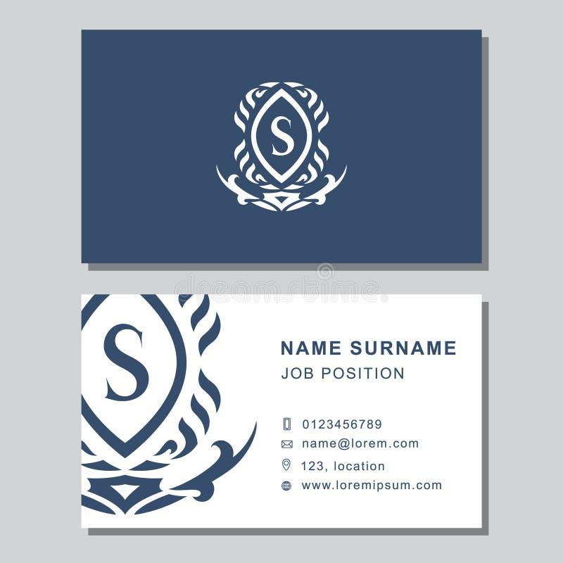 Plantilla de la tarjeta de visita con los elementos abstractos del diseño del monograma Letra elegante moderna S del emblema Fond stock de ilustración