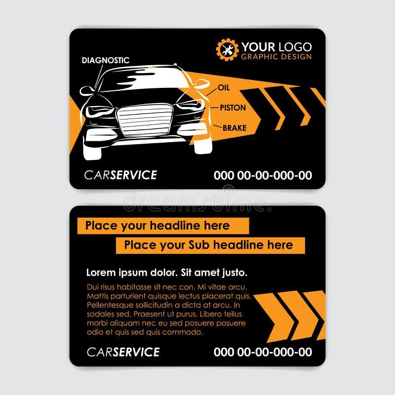 Plantilla de la tarjeta de visita de la reparación auto Cree sus propias tarjetas de visita stock de ilustración