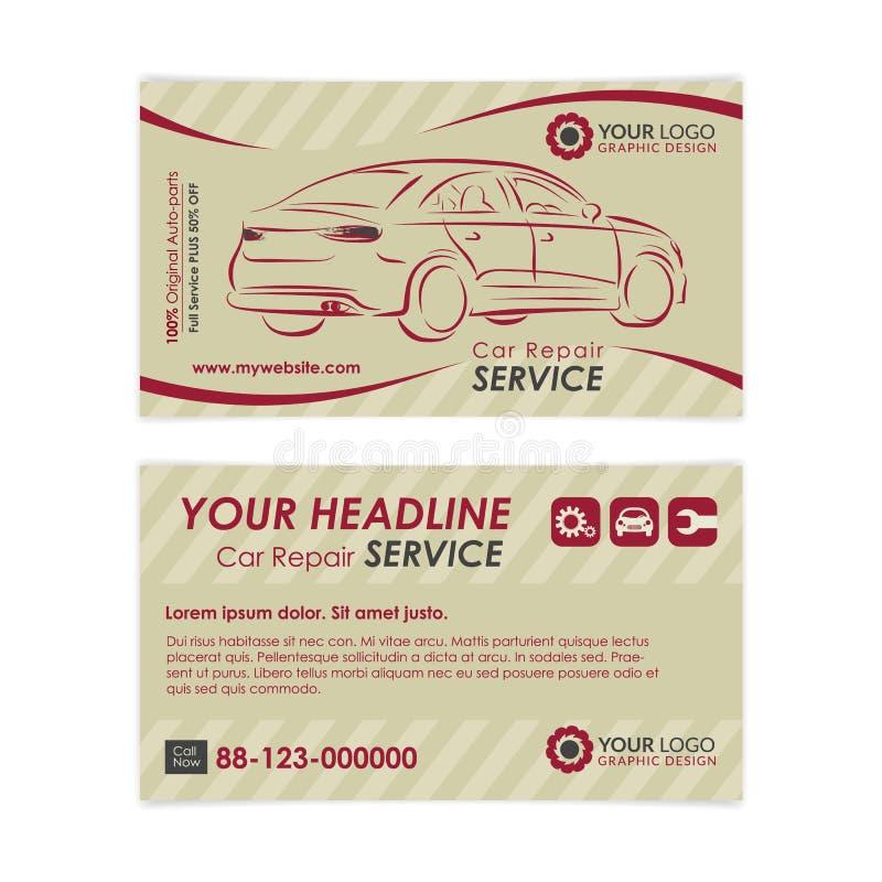 Plantilla de la tarjeta de visita de la reparación auto del vintage Cree sus propias tarjetas de visita ilustración del vector