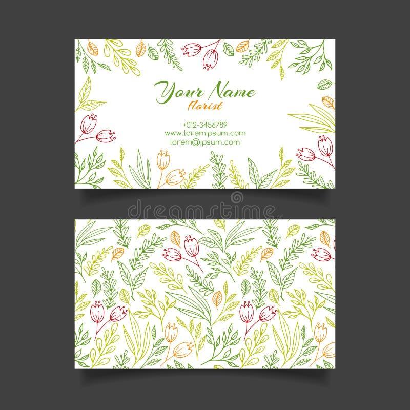 Plantilla de la tarjeta de visita del vector con el estampado de flores stock de ilustración