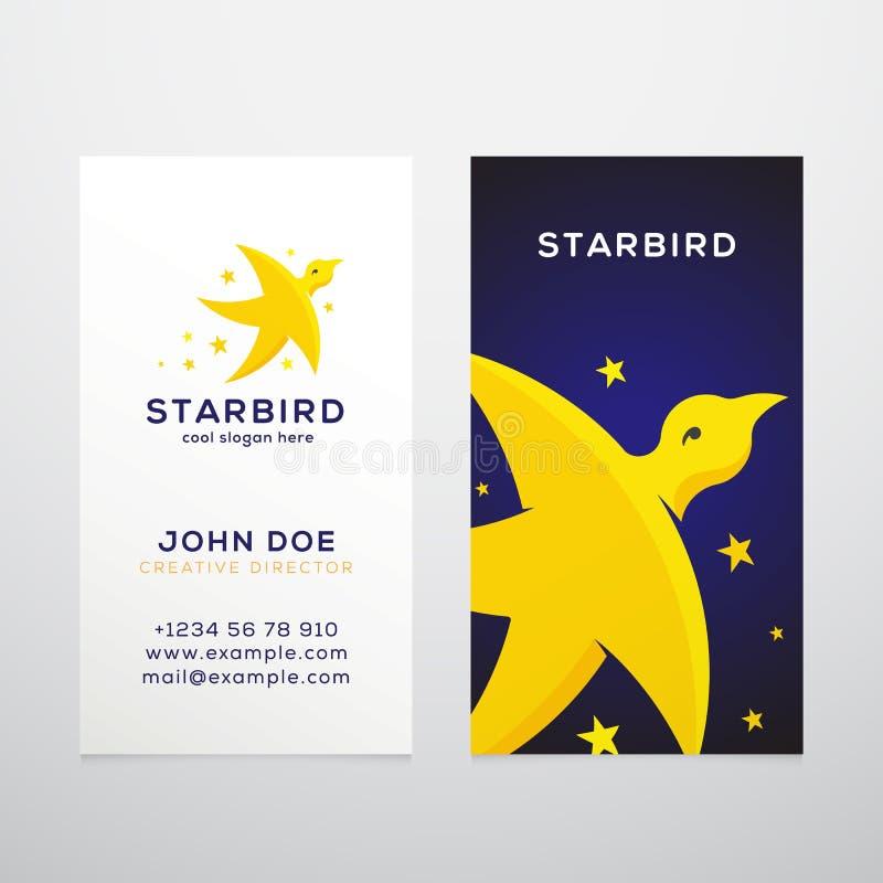 Plantilla de la tarjeta de visita del vector del extracto del pájaro de la estrella stock de ilustración