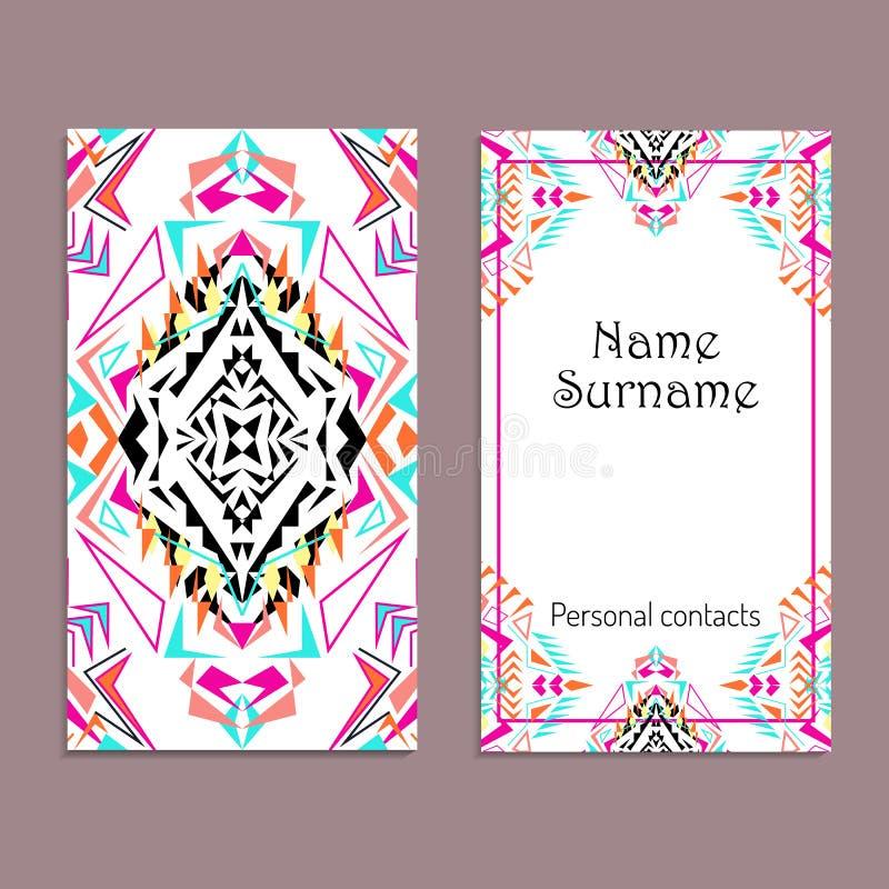Plantilla de la tarjeta de visita del vector Ornamentos tribales étnicos Estilo de Boho libre illustration