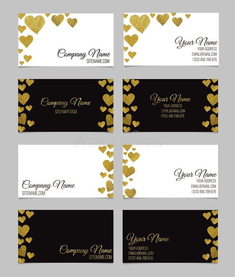 Plantilla de la tarjeta de visita o sistema de la tarjeta de visita con diseño de oro de la forma del corazón de la hoja stock de ilustración