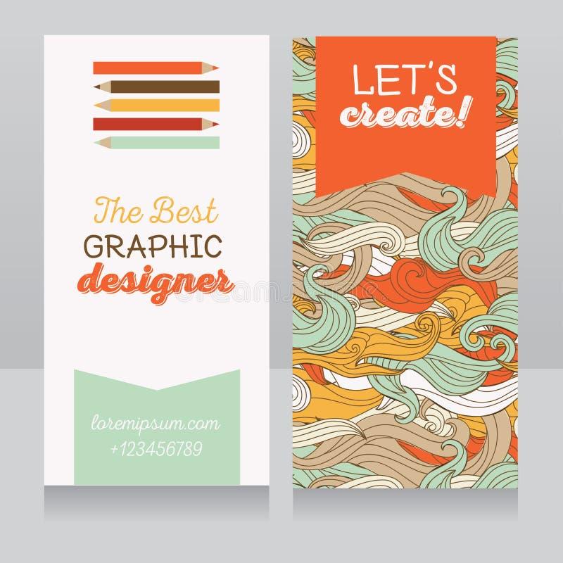Plantilla de la tarjeta de visita para el diseñador gráfico o para el terapeuta del arte/las clases de arte stock de ilustración
