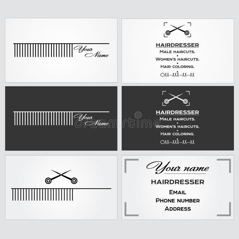 Plantilla de la tarjeta de visita para un peluquero ilustración del vector