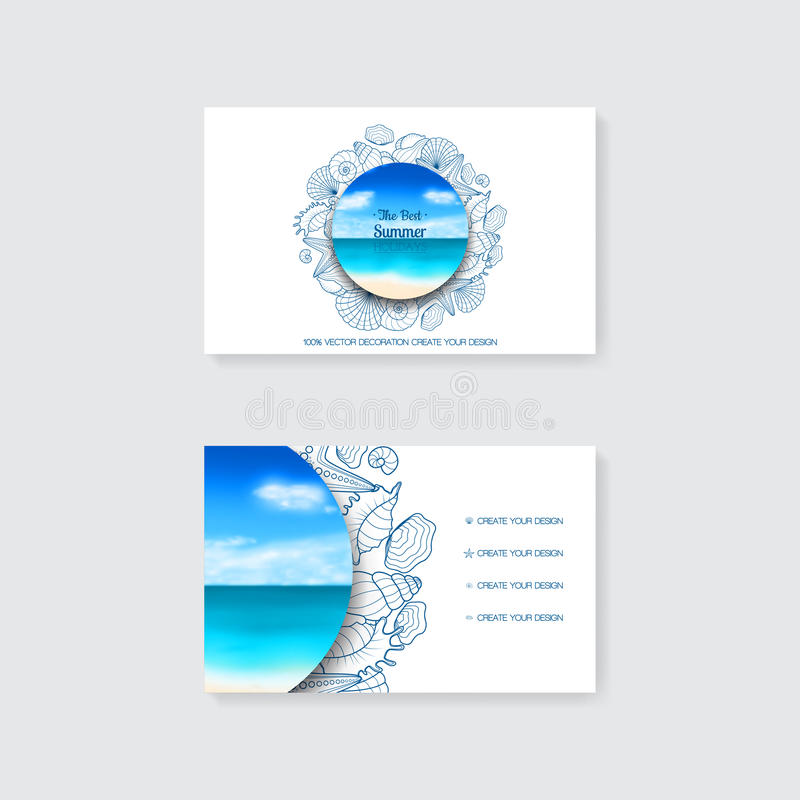 Plantilla de la tarjeta de visita simple con el ornamento, las estrellas de mar y las conchas marinas decorativos ilustración del vector