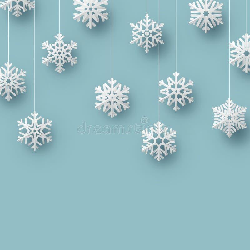 Plantilla de la tarjeta del copo de nieve de la papiroflexia de la Navidad EPS 10 stock de ilustración