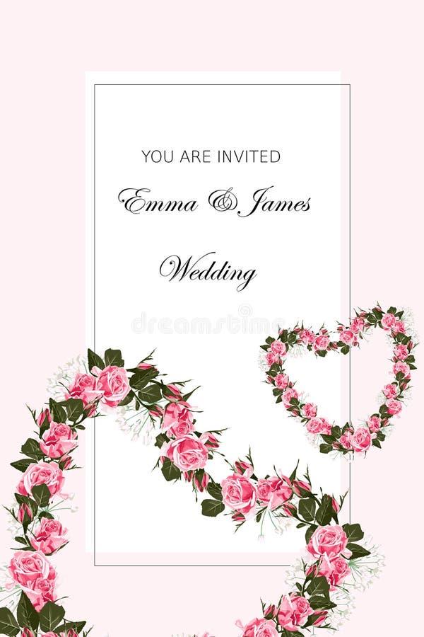 Plantilla de la tarjeta del extracto del día del ` s de la tarjeta del día de San Valentín con el corazón rosado de las rosas stock de ilustración