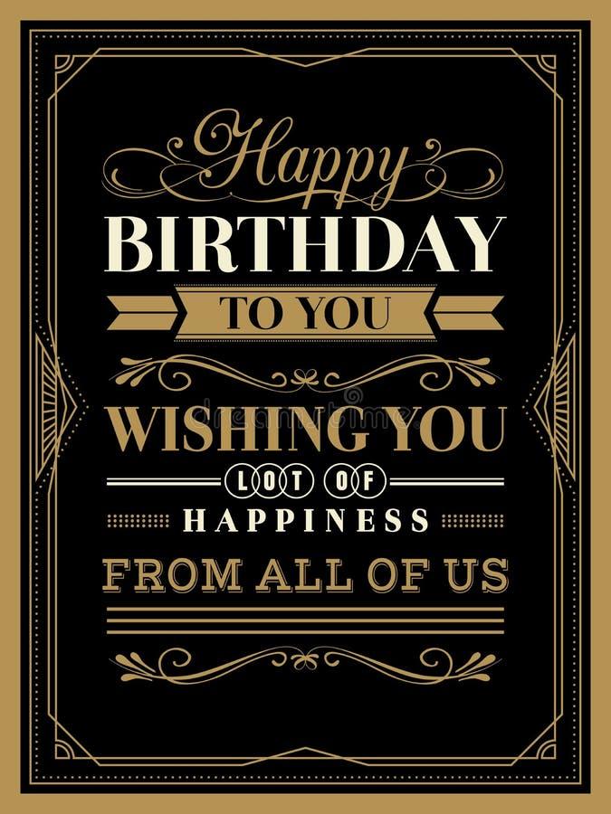 Plantilla de la tarjeta del feliz cumpleaños del vintage stock de ilustración
