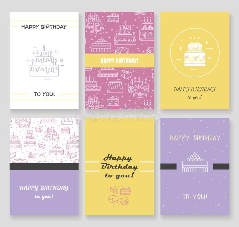 Plantilla de la tarjeta del feliz cumpleaños Torta con la línea fondo del icono del vector de la vela Ilustración dulce del postr libre illustration