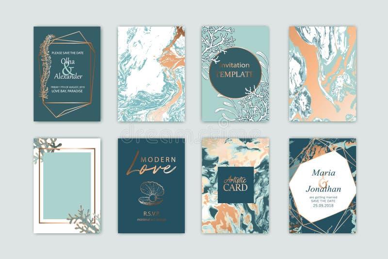 Plantilla de la tarjeta del mar del verano El diseño para la boda, invitación, ahorra la fecha, partido, cartel, madeja que usted stock de ilustración