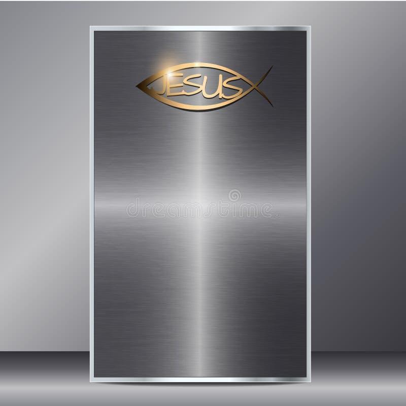 Plantilla de la tarjeta del metal de Jesús 3d con el espacio en blanco aislado en fondo gris stock de ilustración