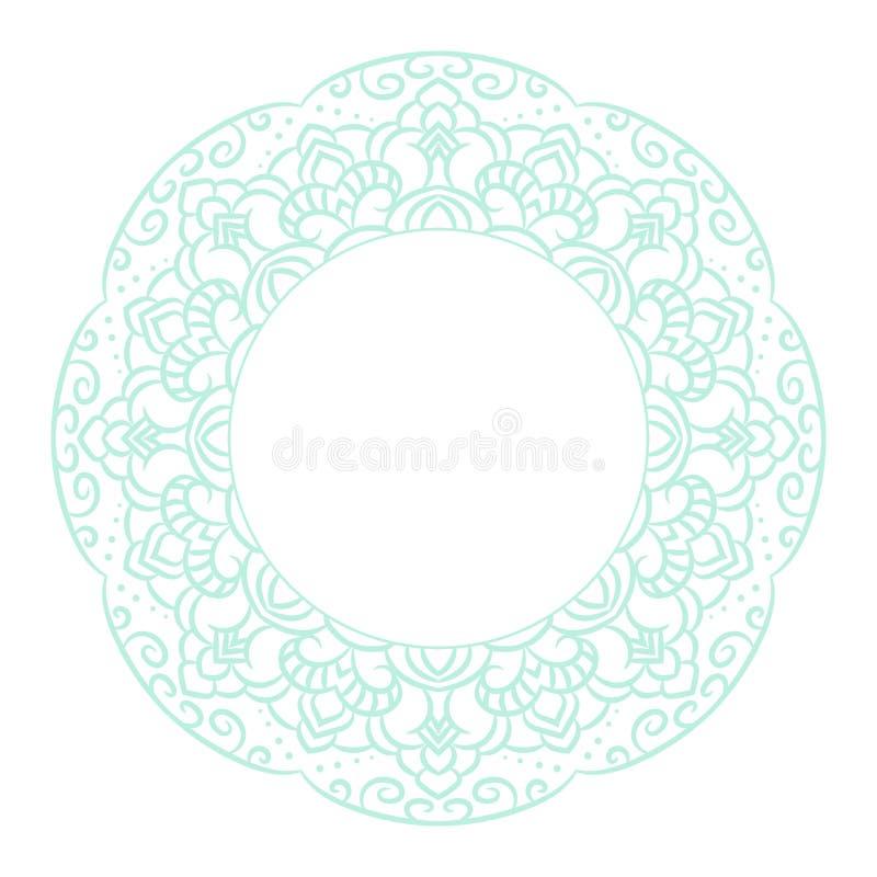 Plantilla de la tarjeta del rosetón del círculo de la mandala de los azules cielos ilustración del vector