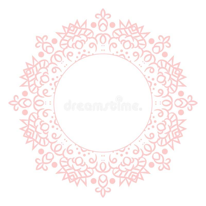Plantilla de la tarjeta del rosetón del círculo de la mandala de los rosas bebés libre illustration