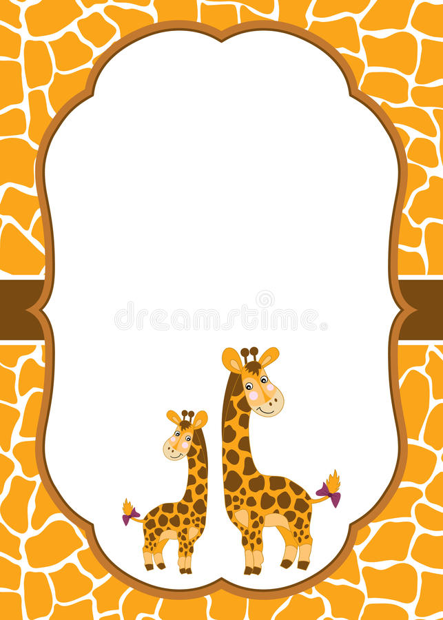 Plantilla de la tarjeta del vector con las jirafas lindas en fondo manchado de la piel Jirafa del bebé del vector ilustración del vector