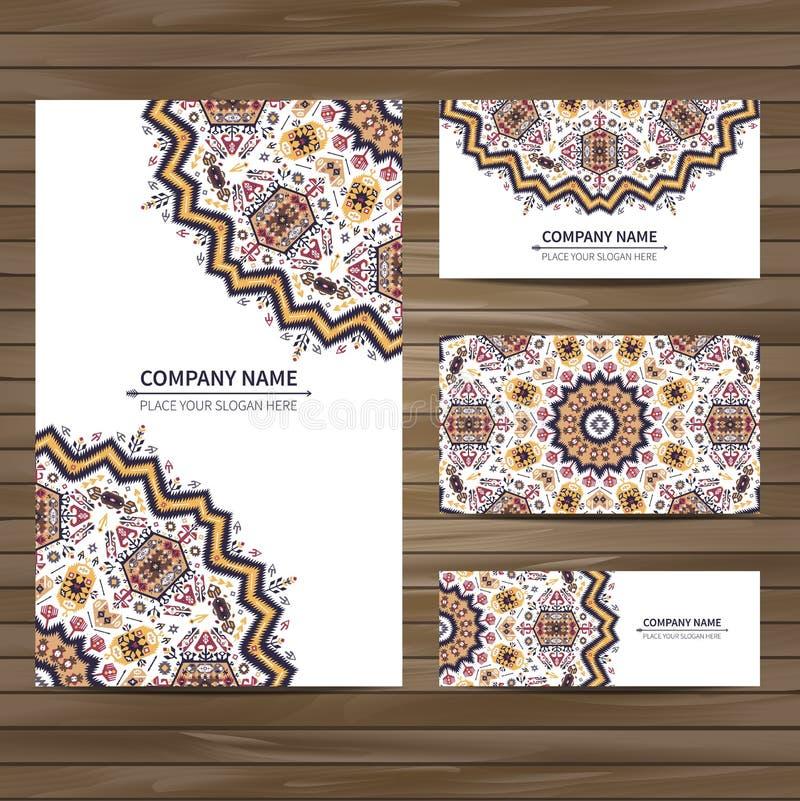Plantilla de la tarjeta del vector del negocio en estilo nativo stock de ilustración