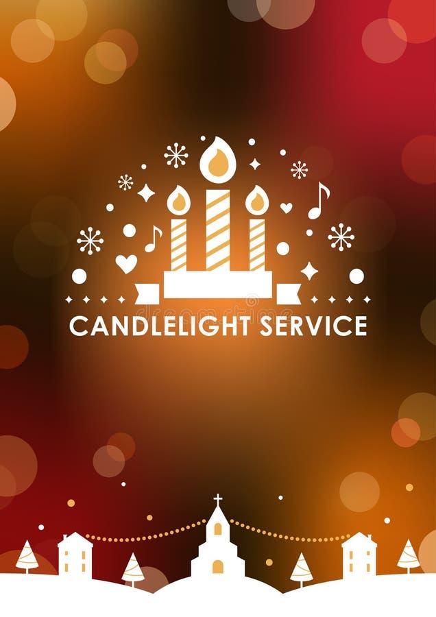 Plantilla de la tarjeta de Eve Candlelight Service Invitation de la Navidad Fondo borroso del bokeh Diseño del vector stock de ilustración