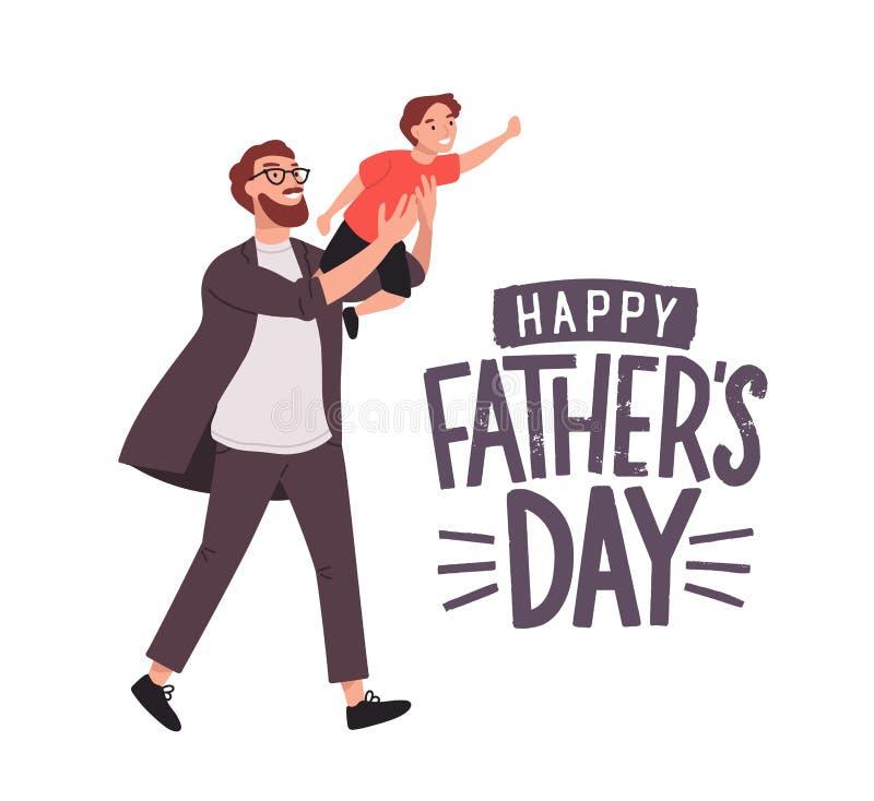 Plantilla de la tarjeta de felicitación con el hombre sonriente que lleva el muchacho o al papá joven que detiene al hijo Persona stock de ilustración