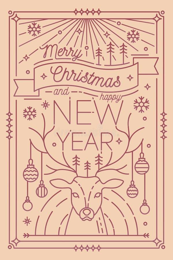 Plantilla de la tarjeta de felicitación de la Feliz Navidad y de la Feliz Año Nuevo con las decoraciones festivas - astas de los  libre illustration