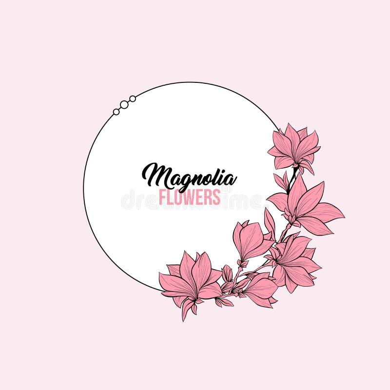 Plantilla de la tarjeta de felicitación de las flores del rosa de la magnolia libre illustration
