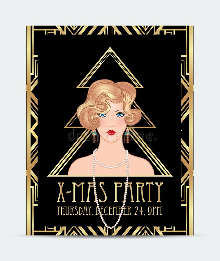 Plantilla de la tarjeta de felicitación de la Navidad del estilo del art déco Vintag abstracto libre illustration