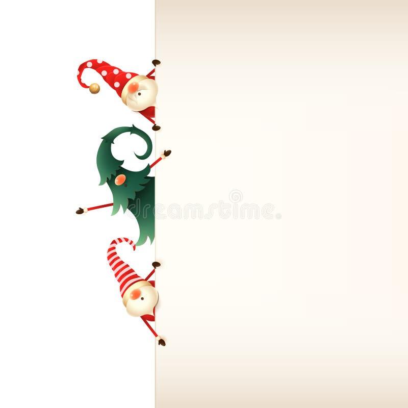 Plantilla de la tarjeta de felicitación de la Navidad Tres gnomos de la Navidad que miran a escondidas detrás de letrero en fondo ilustración del vector
