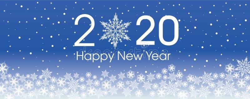 Plantilla de la tarjeta de la Feliz Año Nuevo 2020 Copos de nieve patern del diseño fotos de archivo libres de regalías