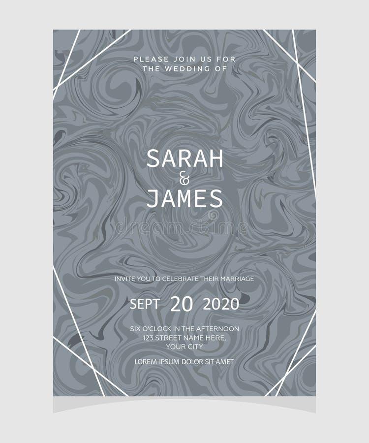 Plantilla de la tarjeta de la invitación de la boda con el fondo de mármol de la textura Invitación de la boda Excepto la fecha stock de ilustración